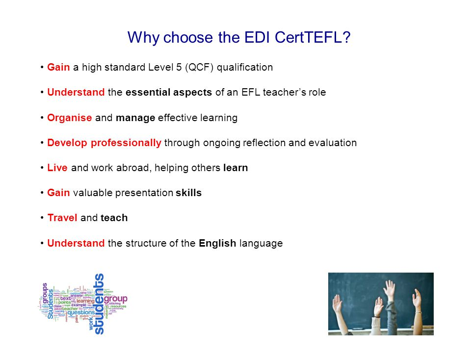 Why choose the EDI CertTEFL.