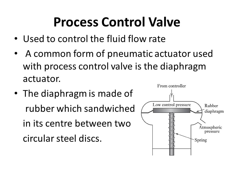 Process Control Valve Used to control the fluid flow rate A common form of pneumatic actuator used with process control valve is the diaphragm actuator.
