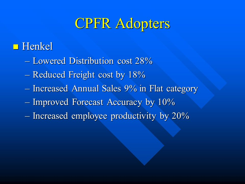 CPFR Adopters Henkel Henkel –Lowered Distribution cost 28% –Reduced Freight cost by 18% –Increased Annual Sales 9% in Flat category –Improved Forecast Accuracy by 10% –Increased employee productivity by 20%