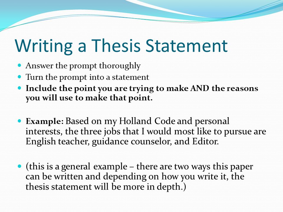 Example Essay With Thesis Statement And Topic Sentence