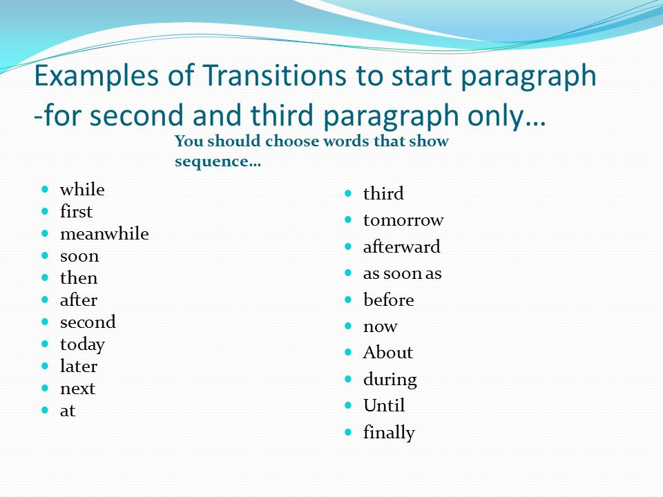 Transition In Essay
