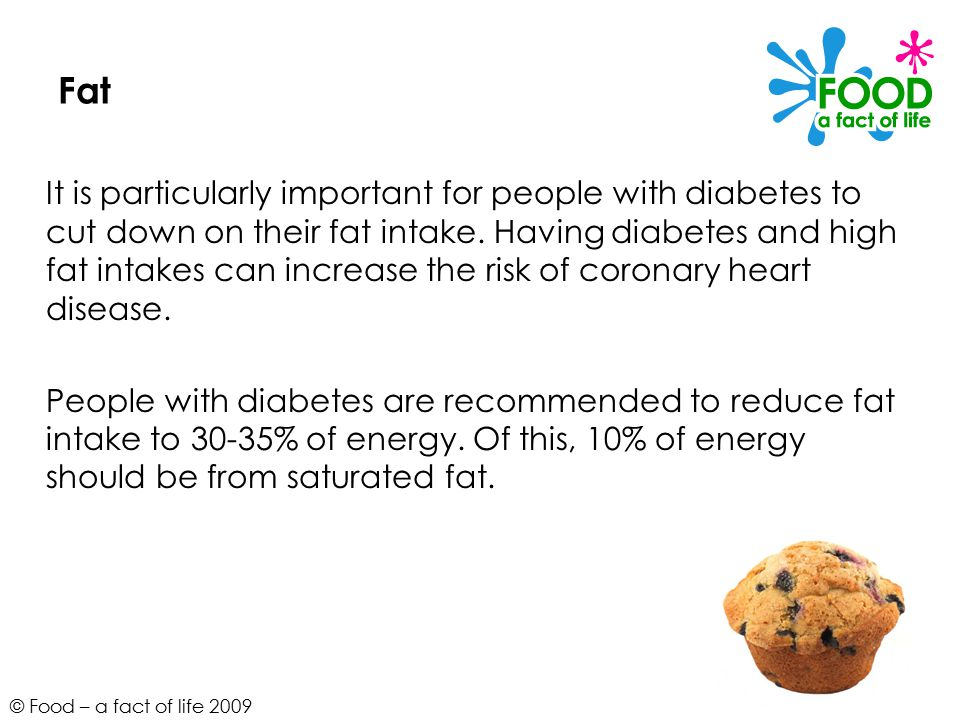 © Food – a fact of life 2009 Fat It is particularly important for people with diabetes to cut down on their fat intake.