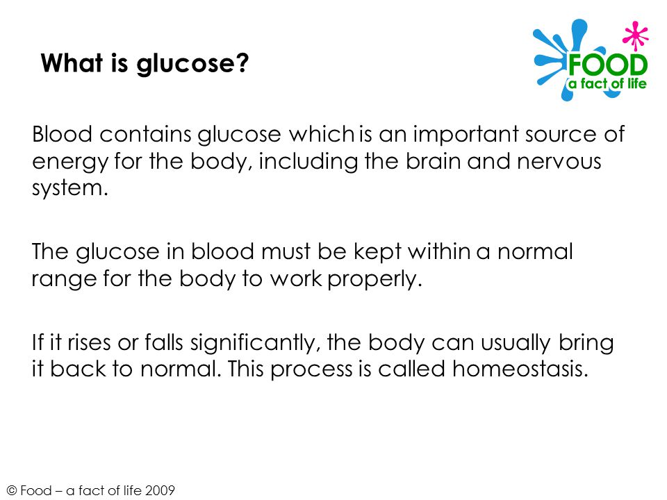 © Food – a fact of life 2009 What is glucose.