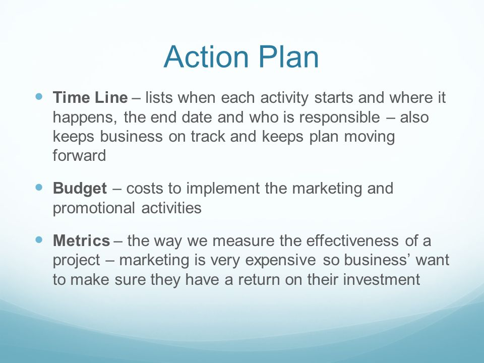 Action Plan Time Line – lists when each activity starts and where it happens, the end date and who is responsible – also keeps business on track and keeps plan moving forward Budget – costs to implement the marketing and promotional activities Metrics – the way we measure the effectiveness of a project – marketing is very expensive so business' want to make sure they have a return on their investment