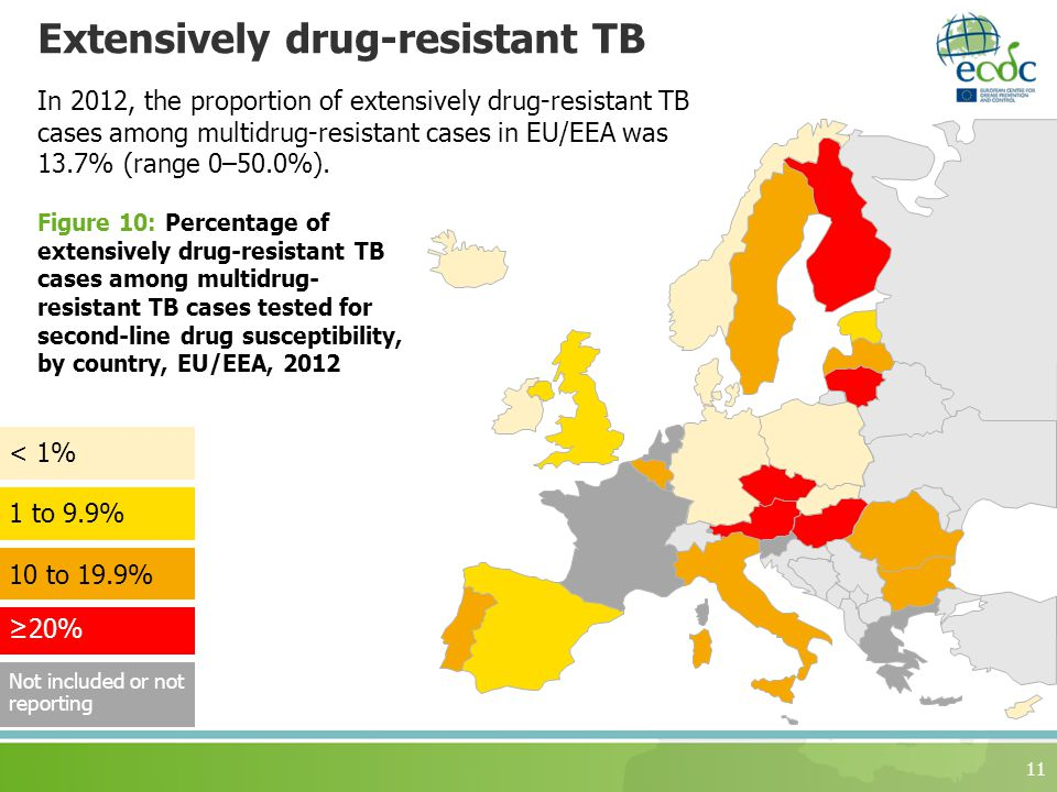 Extensively drug-resistant TB 11 In 2012, the proportion of extensively drug-resistant TB cases among multidrug-resistant cases in EU/EEA was 13.7% (range 0–50.0%).