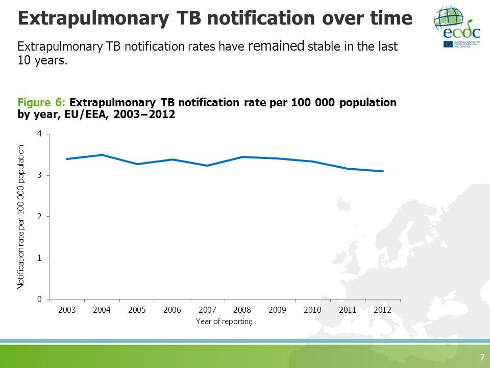Extrapulmonary TB notification over time Extrapulmonary TB notification rates have remained stable in the last 10 years.