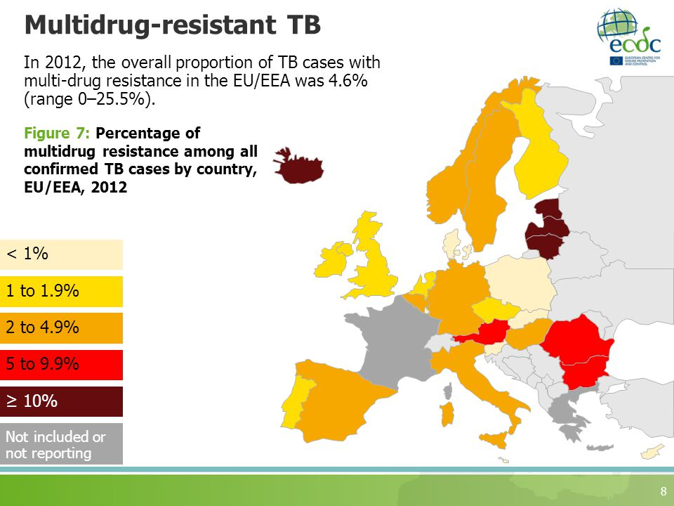 Multidrug-resistant TB 8 In 2012, the overall proportion of TB cases with multi-drug resistance in the EU/EEA was 4.6% (range 0–25.5%).