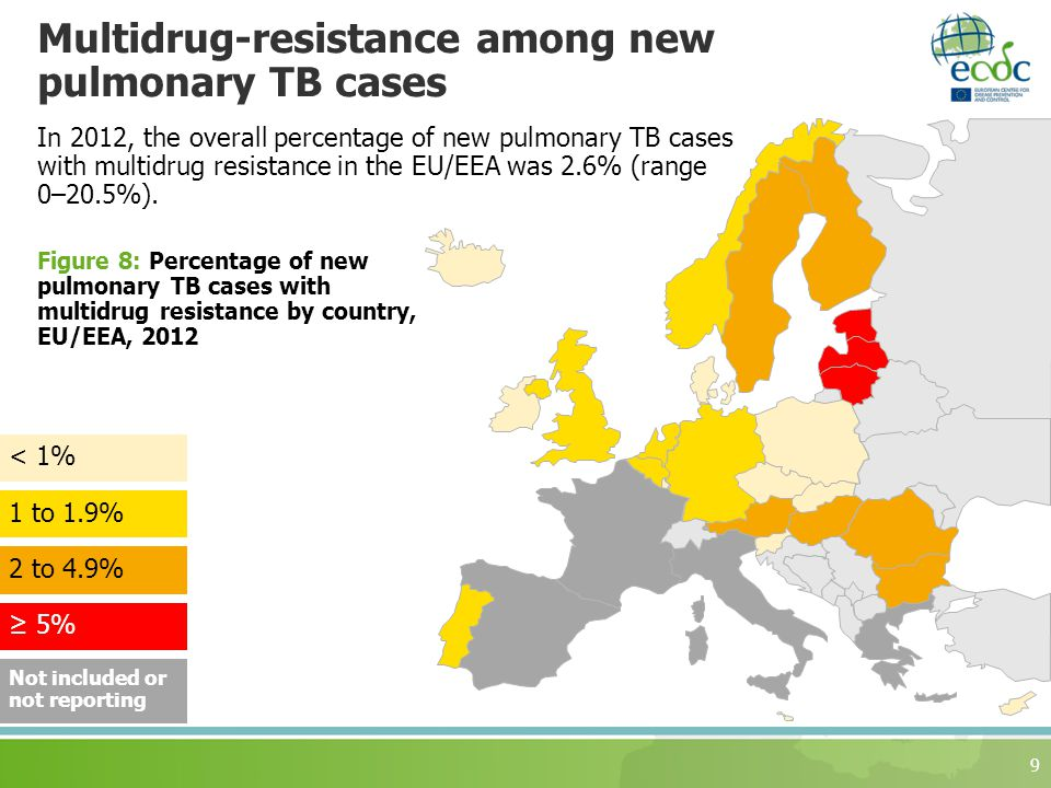 Multidrug-resistance among new pulmonary TB cases 9 Figure 8: Percentage of new pulmonary TB cases with multidrug resistance by country, EU/EEA, to 4.9% 1 to 1.9% ≥ 5% < 1% Not included or not reporting In 2012, the overall percentage of new pulmonary TB cases with multidrug resistance in the EU/EEA was 2.6% (range 0–20.5%).