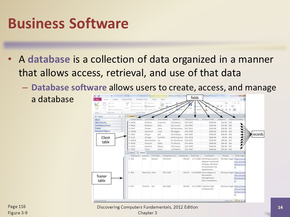 Business Software A database is a collection of data organized in a manner that allows access, retrieval, and use of that data – Database software allows users to create, access, and manage a database Discovering Computers Fundamentals, 2012 Edition Chapter 3 14 Page 116 Figure 3-9