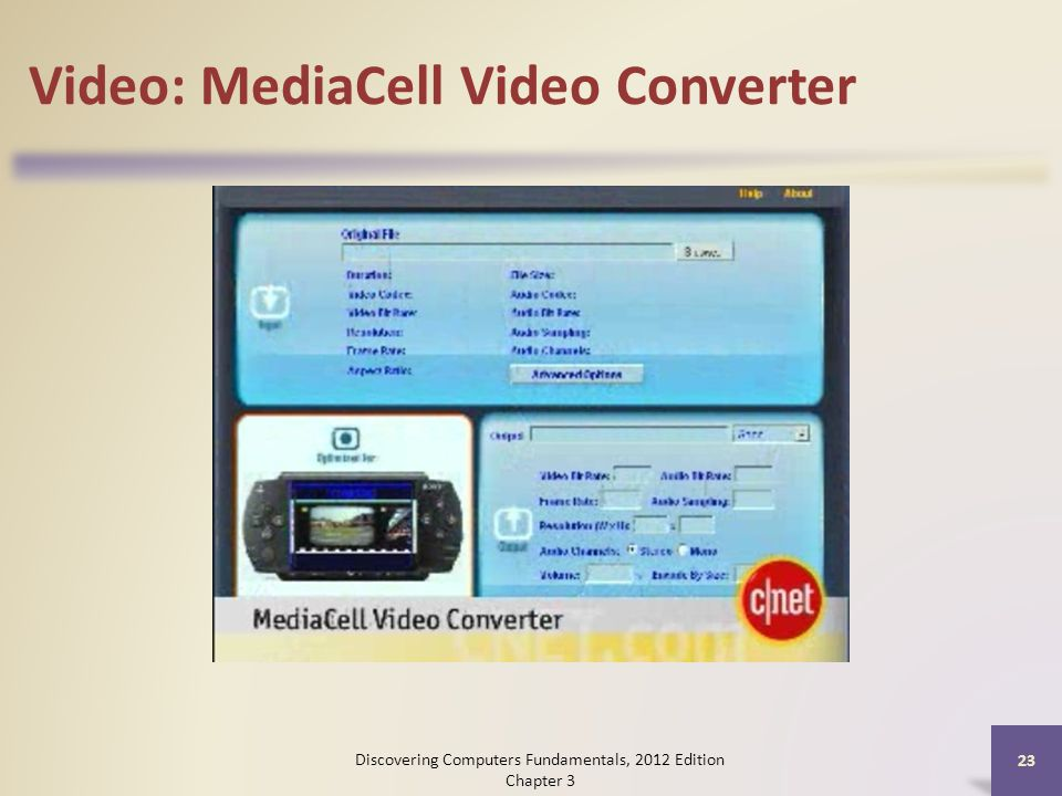Video: MediaCell Video Converter Discovering Computers Fundamentals, 2012 Edition Chapter 3 23