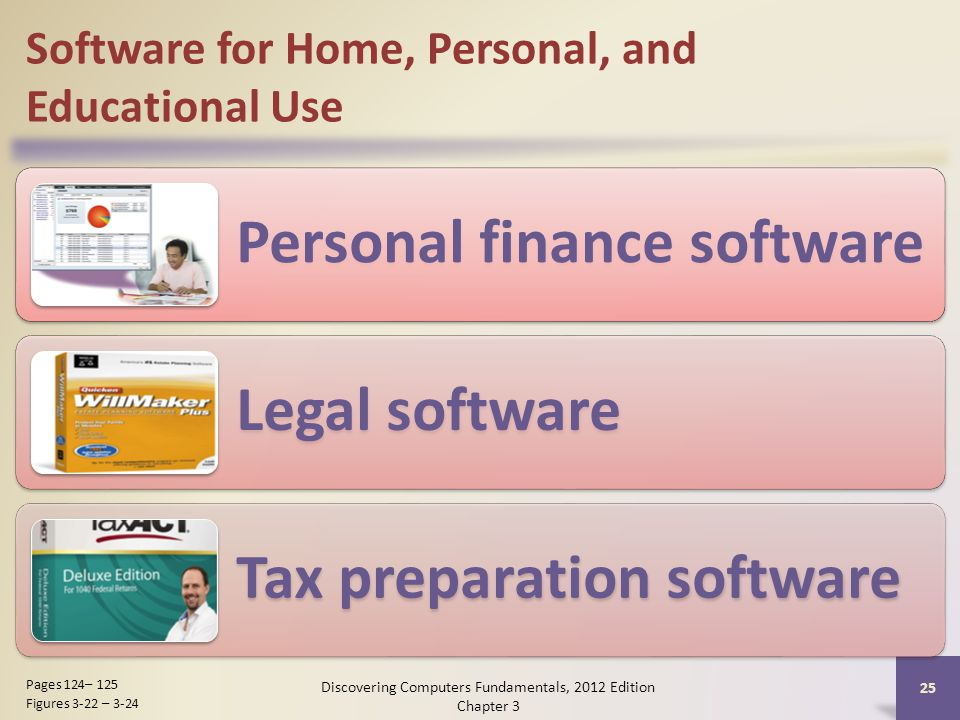 Software for Home, Personal, and Educational Use Personal finance software Legal software Tax preparation software Discovering Computers Fundamentals, 2012 Edition Chapter 3 25 Pages 124– 125 Figures 3-22 – 3-24