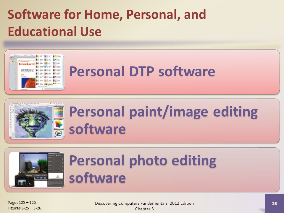 Software for Home, Personal, and Educational Use Personal DTP software Personal paint/image editing software Personal photo editing software Discovering Computers Fundamentals, 2012 Edition Chapter 3 26 Pages 125 – 126 Figures 3-25 – 3-26