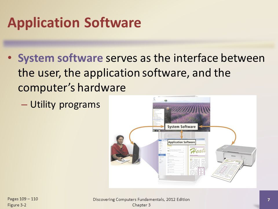 Application Software System software serves as the interface between the user, the application software, and the computer's hardware – Utility programs Discovering Computers Fundamentals, 2012 Edition Chapter 3 7 Pages 109 – 110 Figure 3-2