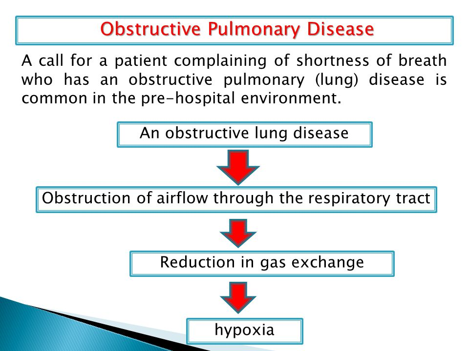 Obstructive Pulmonary Disease Obstructive Pulmonary Disease A call for a patient complaining of shortness of breath who has an obstructive pulmonary (lung) disease is common in the pre-hospital environment.