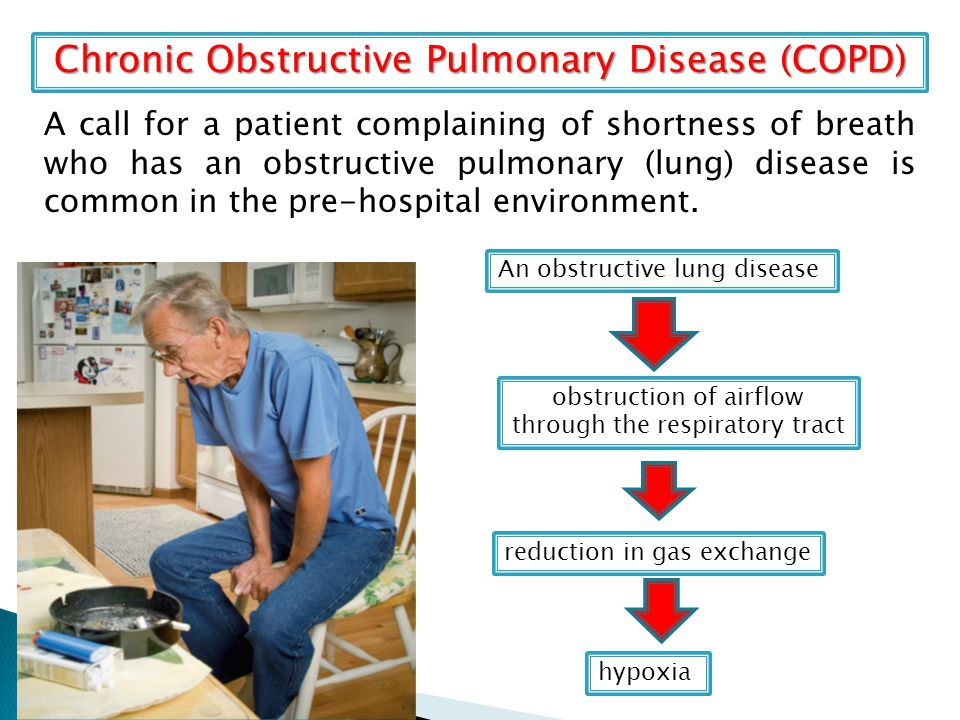 Chronic Obstructive Pulmonary Disease (COPD) A call for a patient complaining of shortness of breath who has an obstructive pulmonary (lung) disease is common in the pre-hospital environment.