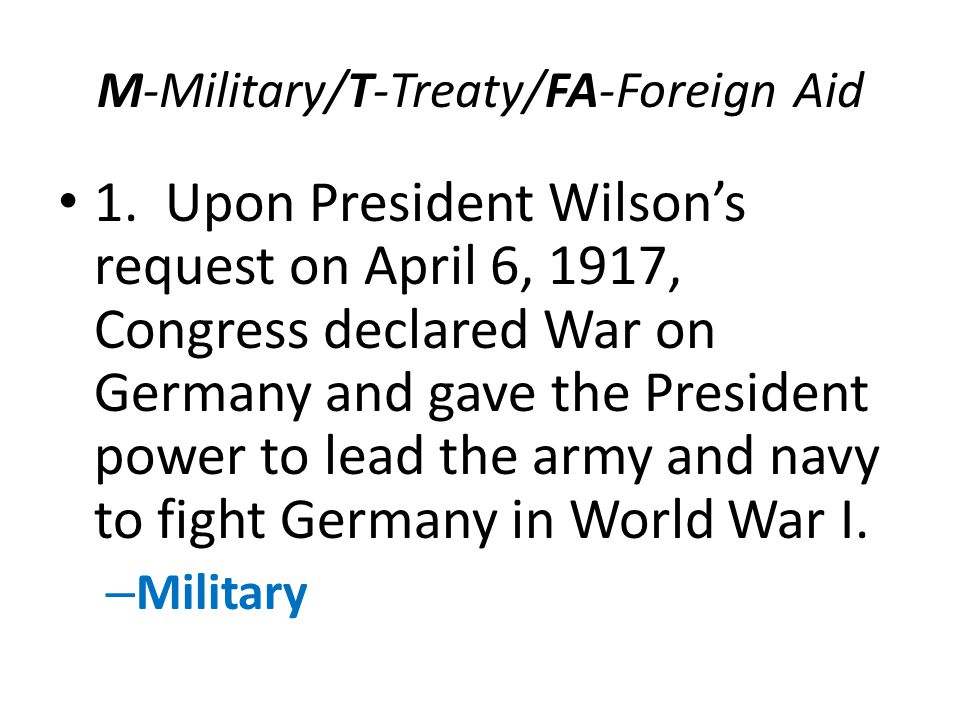M-Military/T-Treaty/FA-Foreign Aid 1.