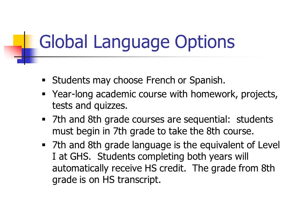 Welcome SixthGrade Families Scheduling Information For GMS Mrs - Global language course