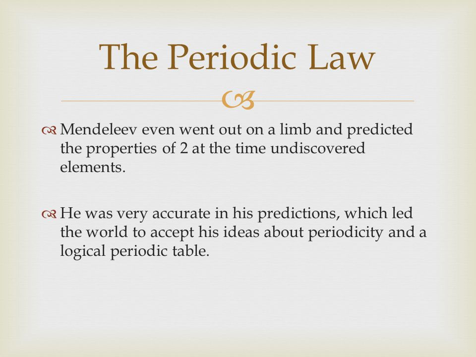 Elemental Properties and Patterns The Periodic Law Dimitri – The Periodic Law Worksheet