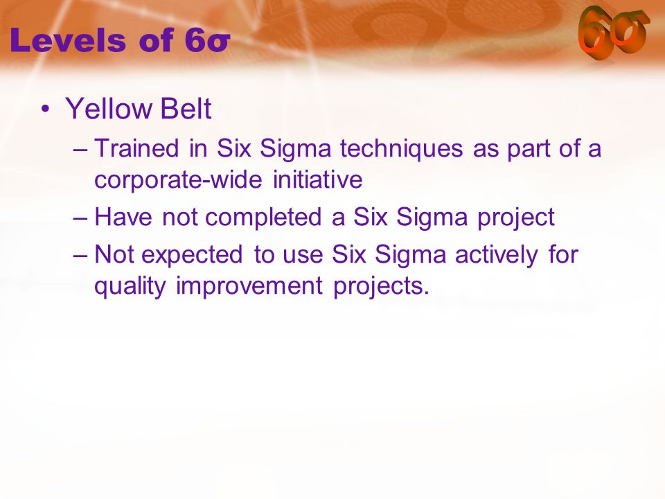 Levels of 6σ Yellow Belt –Trained in Six Sigma techniques as part of a corporate-wide initiative –Have not completed a Six Sigma project –Not expected to use Six Sigma actively for quality improvement projects.