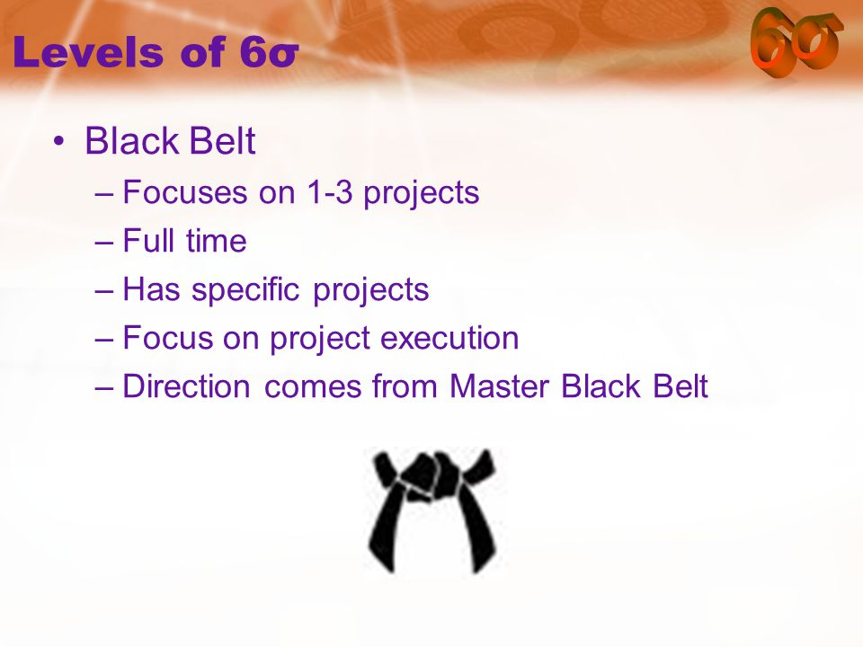 Levels of 6σ Black Belt –Focuses on 1-3 projects –Full time –Has specific projects –Focus on project execution –Direction comes from Master Black Belt