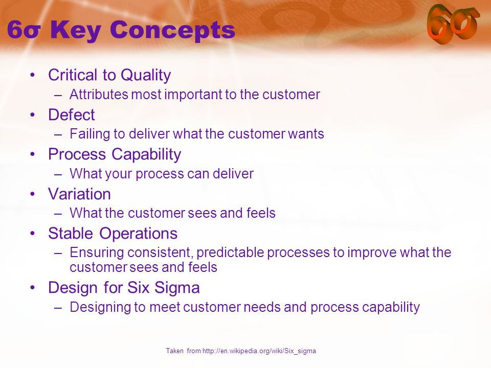 6σ Key Concepts Critical to Quality –Attributes most important to the customer Defect –Failing to deliver what the customer wants Process Capability –What your process can deliver Variation –What the customer sees and feels Stable Operations –Ensuring consistent, predictable processes to improve what the customer sees and feels Design for Six Sigma –Designing to meet customer needs and process capability Taken from