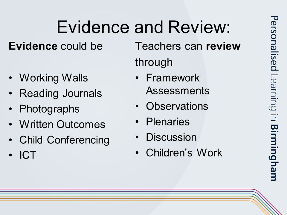 Evidence and Review: Evidence could be Working Walls Reading Journals Photographs Written Outcomes Child Conferencing ICT Teachers can review through Framework Assessments Observations Plenaries Discussion Children's Work