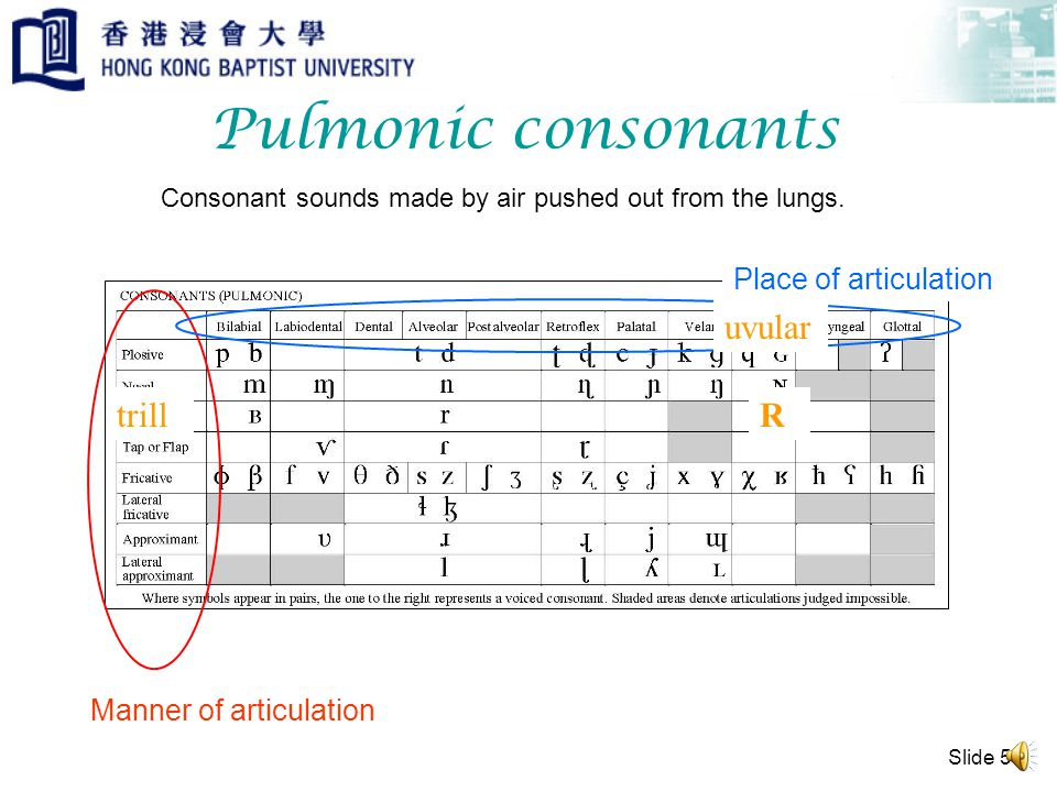 Slide 4 IPA chart Table of pulmonic consonants Table of non-pulmonic consonants Table of vowels Table of suprasegmentals Table of other symbols Table of diacritics