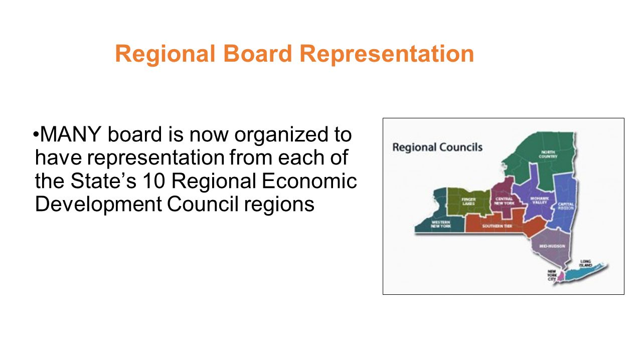 Regional Board Representation MANY board is now organized to have representation from each of the State's 10 Regional Economic Development Council regions