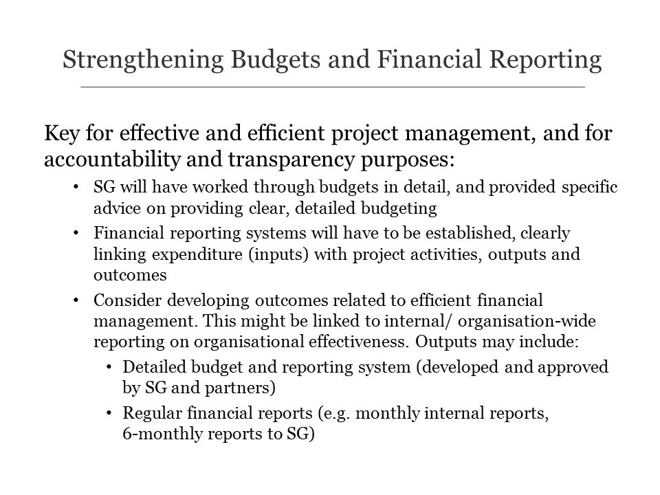 Key for effective and efficient project management, and for accountability and transparency purposes: SG will have worked through budgets in detail, and provided specific advice on providing clear, detailed budgeting Financial reporting systems will have to be established, clearly linking expenditure (inputs) with project activities, outputs and outcomes Consider developing outcomes related to efficient financial management.