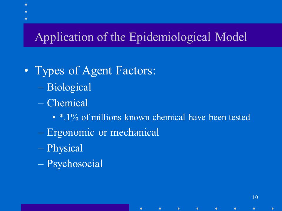 10 Application of the Epidemiological Model Types of Agent Factors: –Biological –Chemical *.1% of millions known chemical have been tested –Ergonomic or mechanical –Physical –Psychosocial