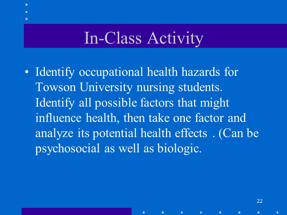 22 In-Class Activity Identify occupational health hazards for Towson University nursing students.