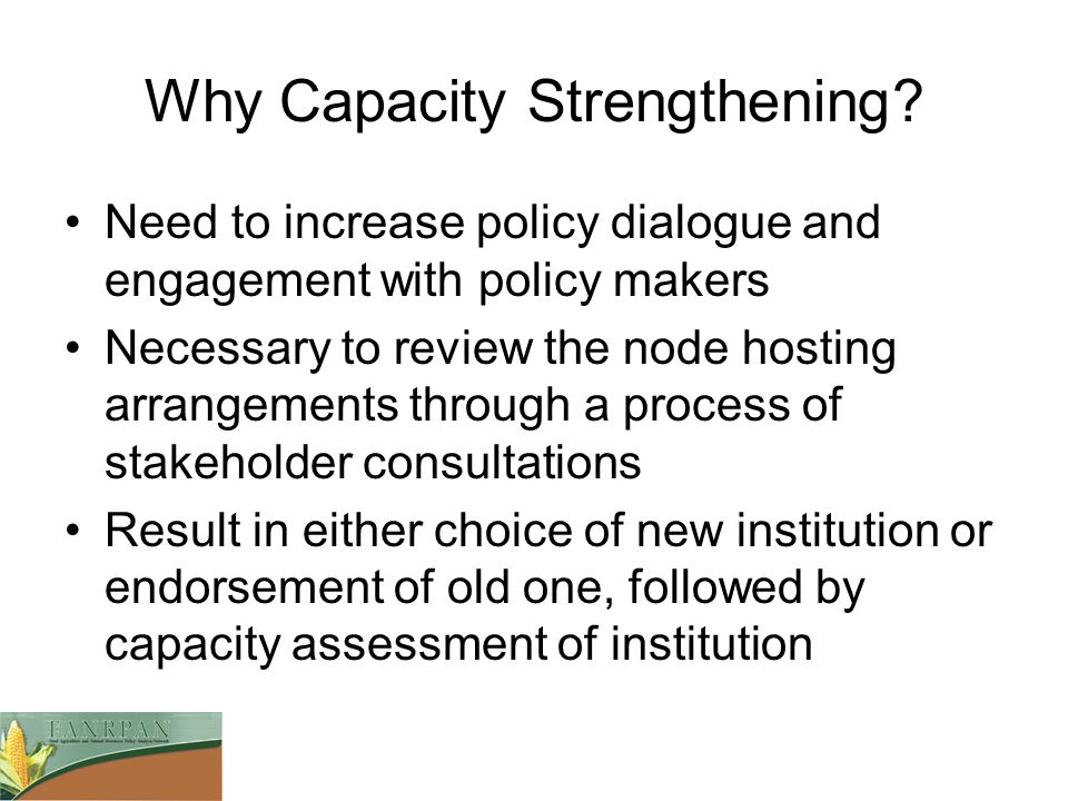 Why Capacity Strengthening.