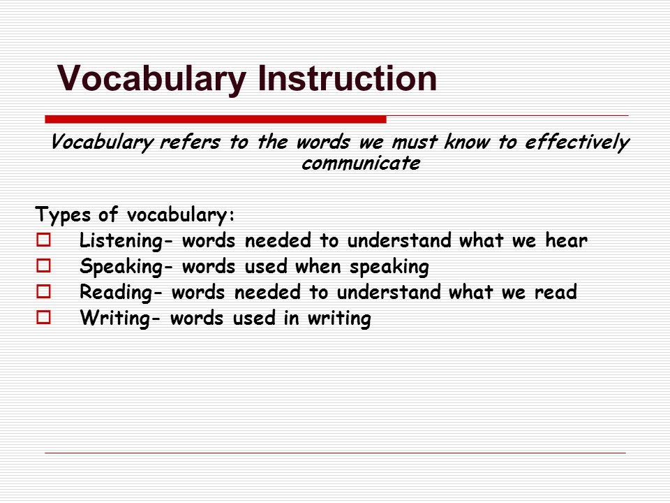 Vocabulary Instruction Vocabulary refers to the words we must know to effectively communicate Types of vocabulary:  Listening- words needed to understand what we hear  Speaking- words used when speaking  Reading- words needed to understand what we read  Writing- words used in writing
