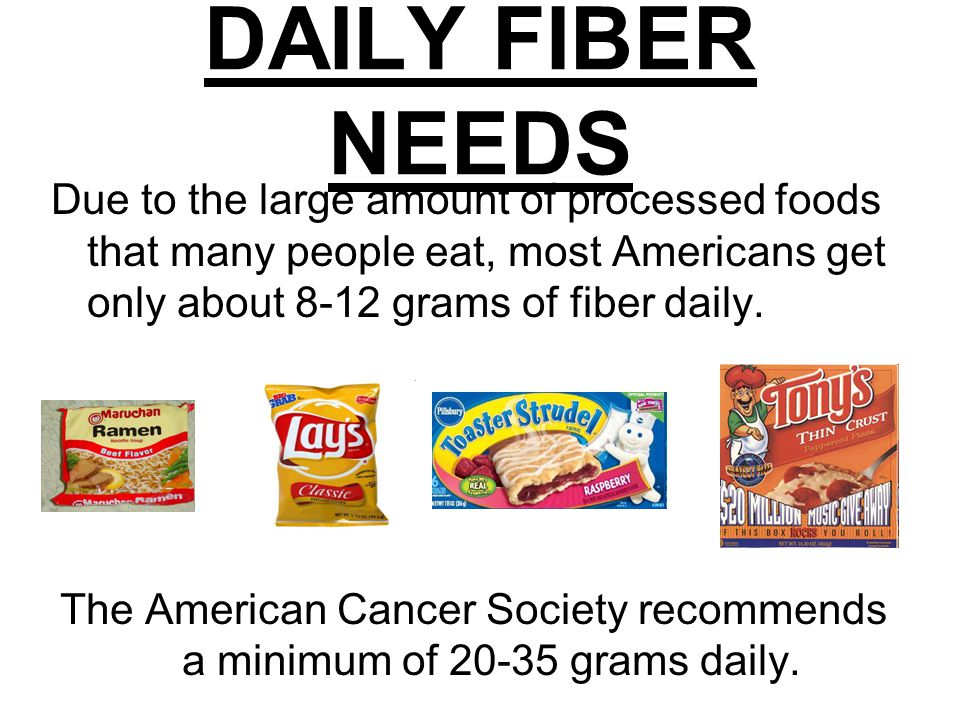 DAILY FIBER NEEDS Due to the large amount of processed foods that many people eat, most Americans get only about 8-12 grams of fiber daily.