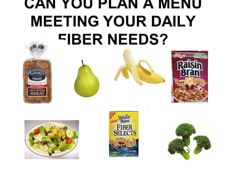 CAN YOU PLAN A MENU MEETING YOUR DAILY FIBER NEEDS