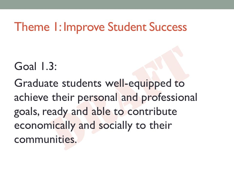DRAFT Theme 1: Improve Student Success Goal 1.3: Graduate students well-equipped to achieve their personal and professional goals, ready and able to contribute economically and socially to their communities.