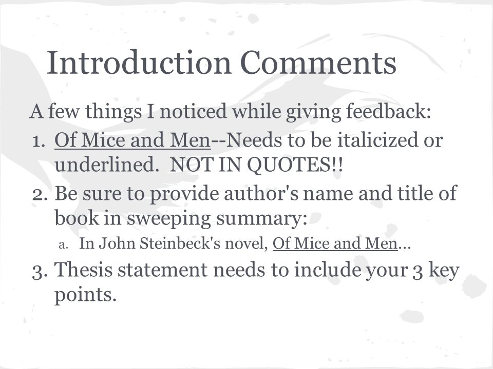 of mice and men 6 essay Complete summary of john steinbeck's of mice and men enotes plot summaries cover all the significant action of of mice and men sample essay outlines.
