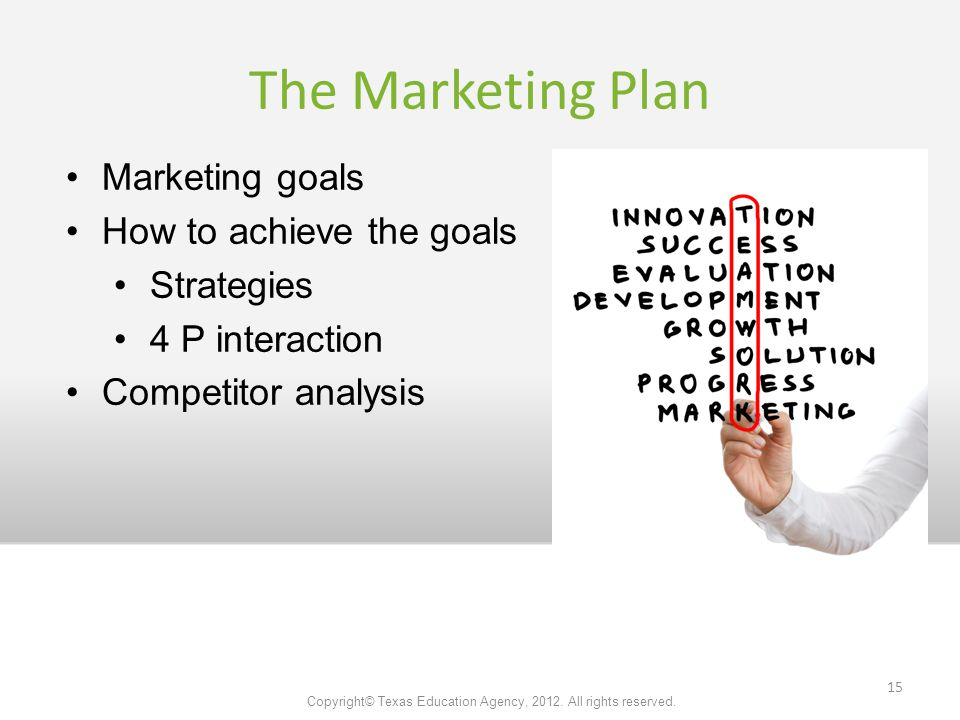 The Marketing Plan Marketing goals How to achieve the goals Strategies 4 P interaction Competitor analysis Copyright© Texas Education Agency, 2012.