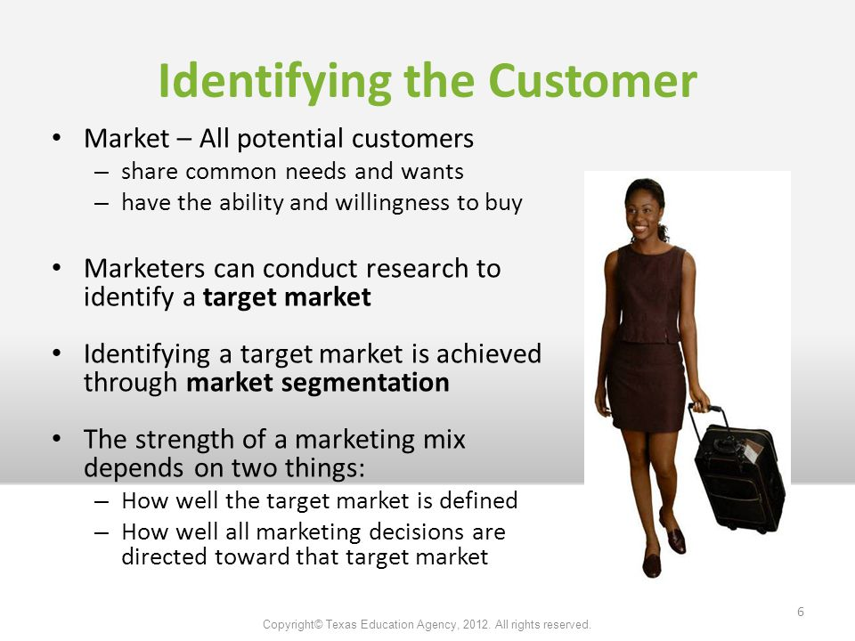Market – All potential customers – share common needs and wants – have the ability and willingness to buy Marketers can conduct research to identify a target market Identifying a target market is achieved through market segmentation The strength of a marketing mix depends on two things: – How well the target market is defined – How well all marketing decisions are directed toward that target market Identifying the Customer Copyright© Texas Education Agency, 2012.
