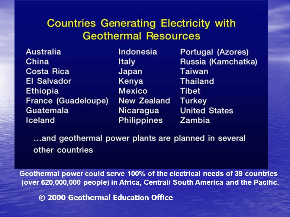 Geothermal power could serve 100% of the electrical needs of 39 countries (over 620,000,000 people) in Africa, Central/ South America and the Pacific.