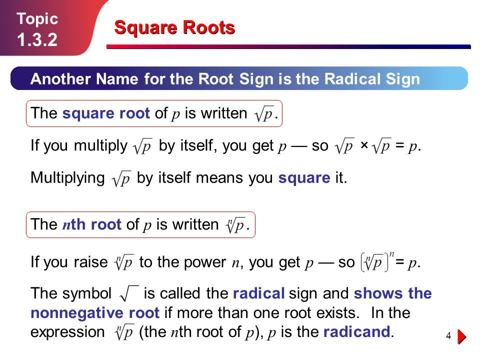 1 Topic Square Roots 2 Topic Square Roots California Standard 20