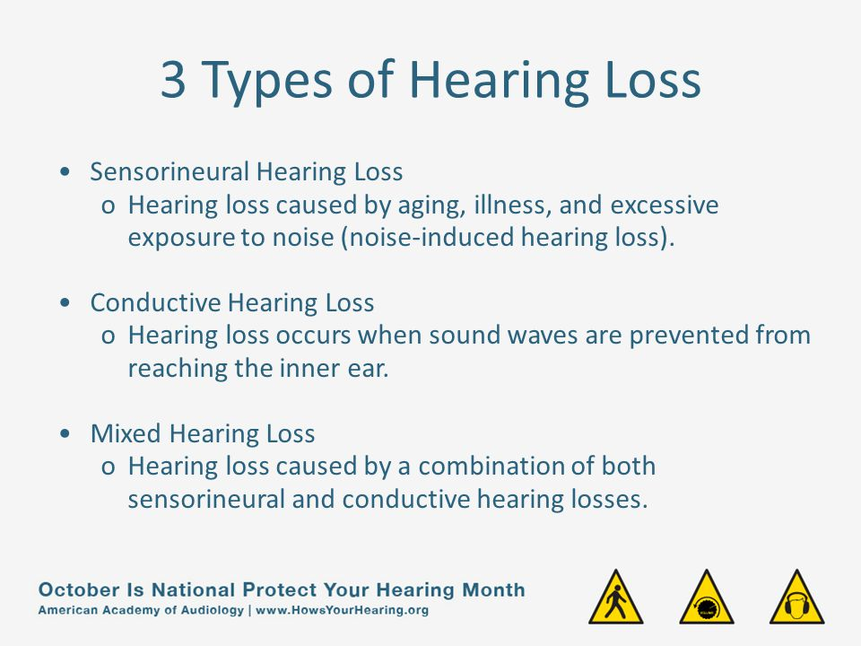 3 Types of Hearing Loss Sensorineural Hearing Loss oHearing loss caused by aging, illness, and excessive exposure to noise (noise-induced hearing loss).
