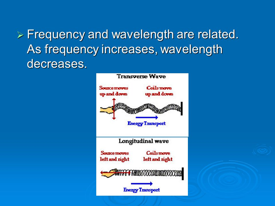  Frequency and wavelength are related. As frequency increases, wavelength decreases.