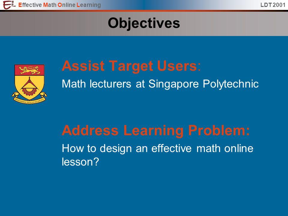 Effective Math Online LearningLDT 2001EMOL EMO L Effective ...