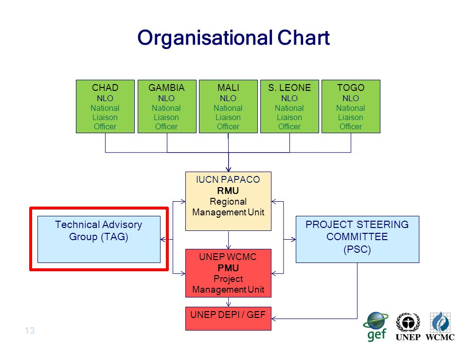 Organisational Chart 13 UNEP DEPI / GEF UNEP WCMC PMU Project Management Unit IUCN PAPACO RMU Regional Management Unit TOGO NLO National Liaison Officer MALI NLO National Liaison Officer l GAMBIA NLO National Liaison Officer CHAD NLO National Liaison Officer S.