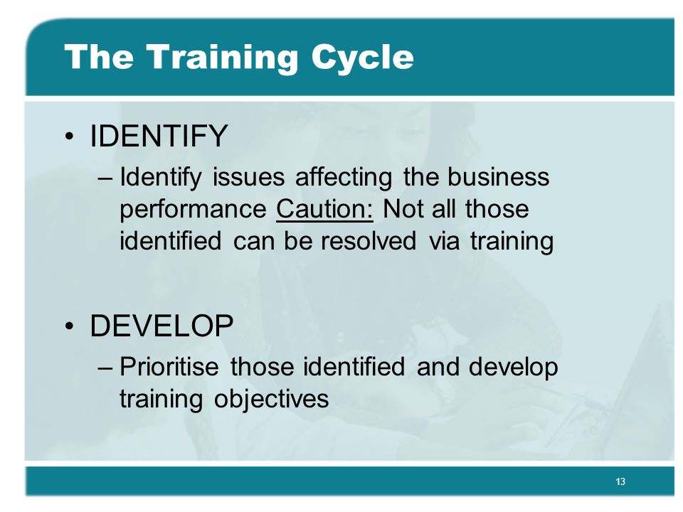 13 The Training Cycle IDENTIFY –Identify issues affecting the business performance Caution: Not all those identified can be resolved via training DEVELOP –Prioritise those identified and develop training objectives