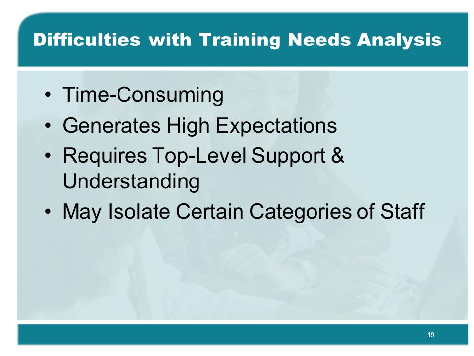 19 Difficulties with Training Needs Analysis Time-Consuming Generates High Expectations Requires Top-Level Support & Understanding May Isolate Certain Categories of Staff