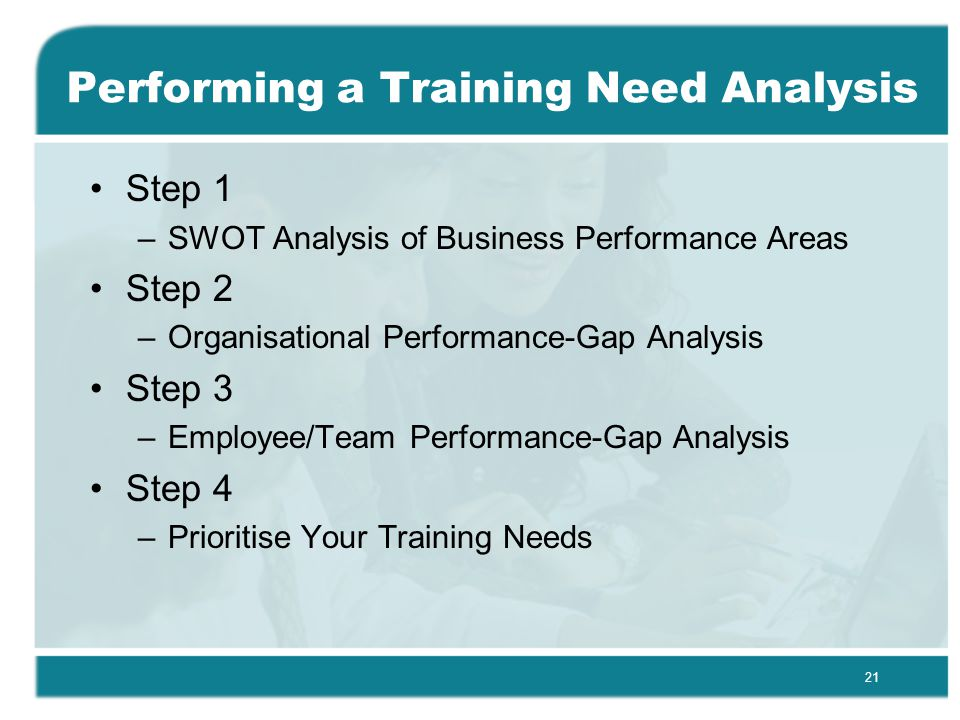 21 Performing a Training Need Analysis Step 1 –SWOT Analysis of Business Performance Areas Step 2 –Organisational Performance-Gap Analysis Step 3 –Employee/Team Performance-Gap Analysis Step 4 –Prioritise Your Training Needs