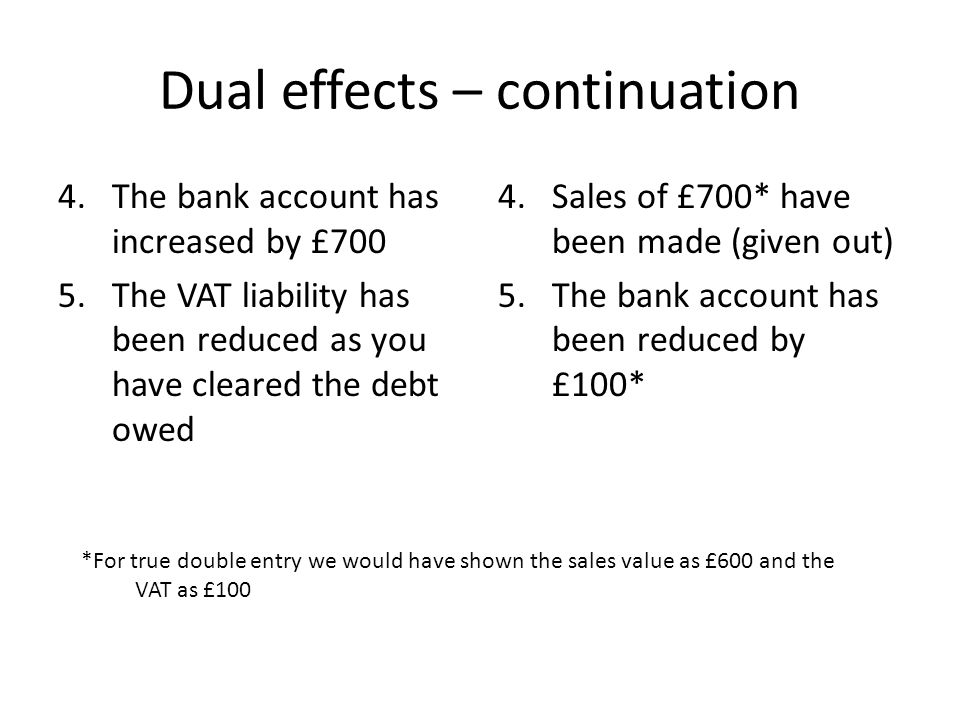 Dual effects – continuation 4.The bank account has increased by £700 5.The VAT liability has been reduced as you have cleared the debt owed 4.Sales of £700* have been made (given out) 5.The bank account has been reduced by £100* *For true double entry we would have shown the sales value as £600 and the VAT as £100