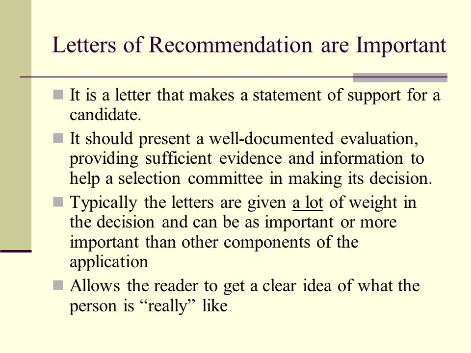 Writing Recommendation Letters Maya Schuldiner Weizmann Institute Of
